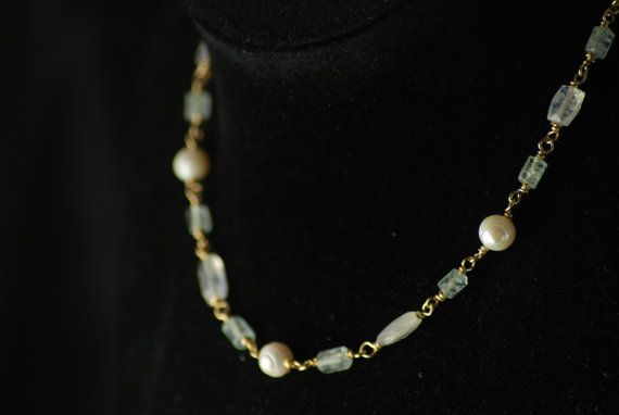 AQUILINA: Reproduction Roman Necklace - goldfilled wirework with aquamarine, rainbow moonstone and pearls - Handmade
