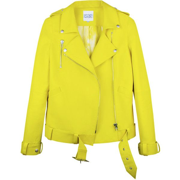 Womens Biker Jackets ISAE STUDIO ADA ($1,690) ❤ liked on Polyvore featuring outerwear, jackets, leather jackets, real leather jackets, leather rider jacket, yellow motorcycle jacket and yellow jacket