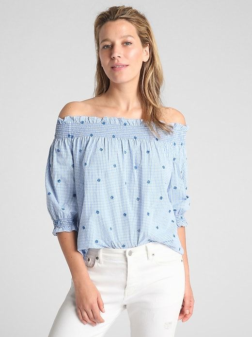4a4b9d15ce3 Gap Womens Smocked Off-Shoulder Top In Poplin Blue Gingham ...