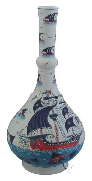 Iznik Design Ceramic Vase - Osmanli Kalyon