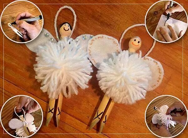 Clothes peg fairies for the Christmas tree