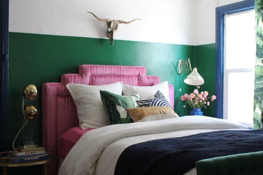 Pink and emerald bedroom
