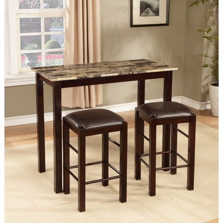 Counter Height Table Set 3 Pc Wood Dining Pub Stools Marble Top Leather Brown #CounterHeightTableSet #Contemporary