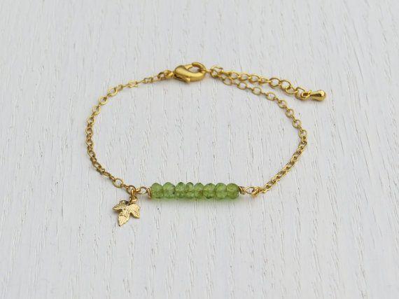 Peridot bracelet Gold leaf bracelet August by SarittDesigns
