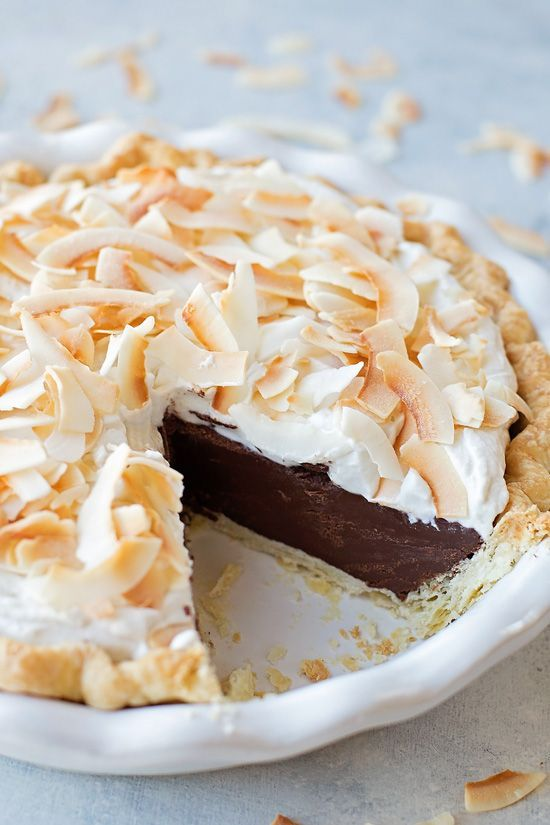 This rich and decadent chocolate coconut cream pie is bound to be a hit! It's absolutely dreamy!