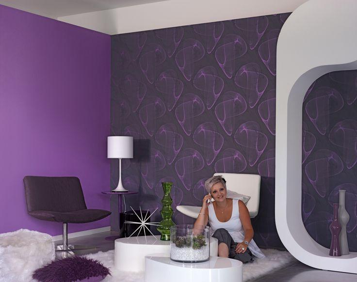 dynamisme gomtrie 3d papier peint chic blanc - Salon Noir Blanc Violet