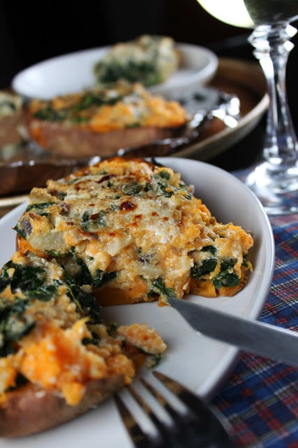 Spinach Stuffed Sweet Potatoes with Ricotta, Parmesan, and Garlic...