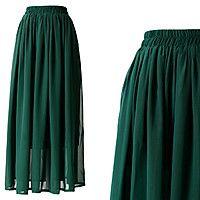 Шифоновая юбка темно-зеленая
