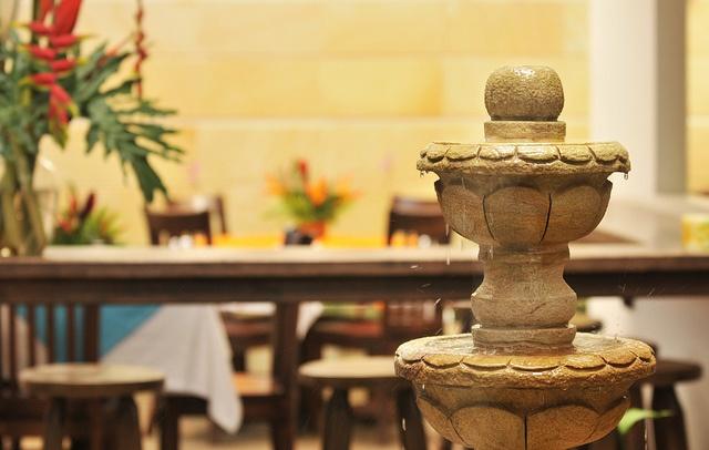 Fuente zen que es parte de nuestra decoración.