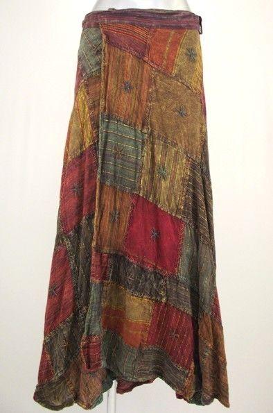 Hippy Skirt Bohemian Patchwork Wrap Maxi Skirt Fair Trade By Folio N014SK3