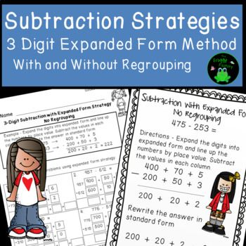 Are you struggling to teach subtraction using common core strategies? This file contains 3 digit subtraction worksheets using the expanded form subtraction strategy. Included in this product are also 2 colorful posters showing the strategy. The guided practice pages are great resources to send home as homework, since the examples at the top show parents how to use the strategy.