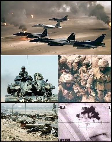 The Gulf War (2 August 1990 – 28 February 1991), Liberation of Kuwait codenamed Operation Desert Storm (January 17, 1991– February 28, 1991) commonly referred to as simply the Gulf War, was a war waged by a U.N.-authorized coalition force from 34 nations led by the United States, against Iraq in response to Iraq's invasion and annexation of Kuwait.