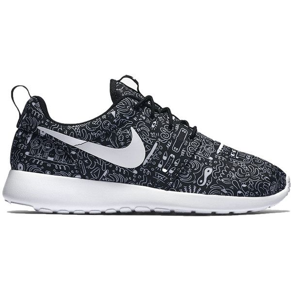 Nike WMNS Roshe One Print ($85) ❤ liked on Polyvore featuring shoes, sneakers, shoe club, women, white and black shoes, jogging shoes, nike trainers, print sneakers and black and white shoes