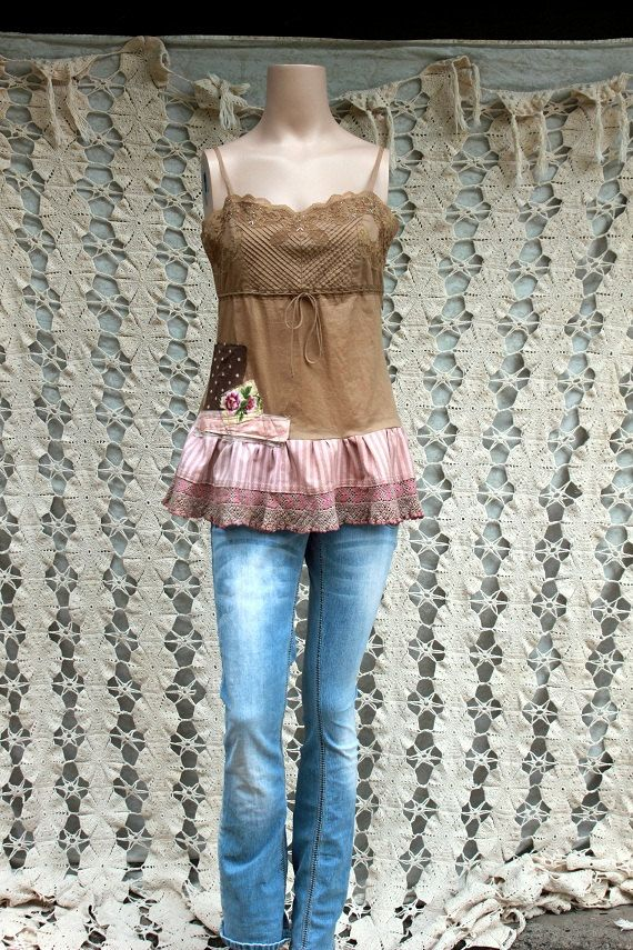REVIVAL Upcycled Women's Camisole Shirt Top Shabby Chic by REVIVAL