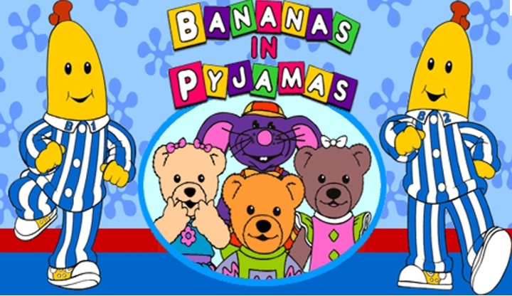 Bananas in Pajamas are coming down the stairs, bananas in pajamas are going to meet the bears...