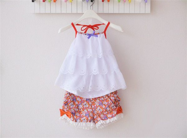 2015 summer korean kids fashion tops with floral pants child boutique summer clothing set for girls from 2-8 years