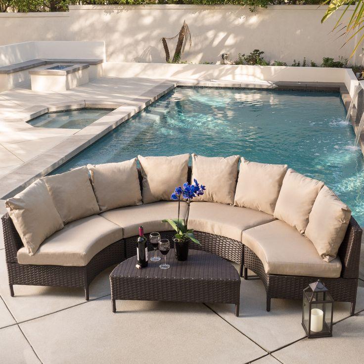 Newton Outdoor 5 piece Dark Brown Wicker Lounge Set by Christopher Knight Hom