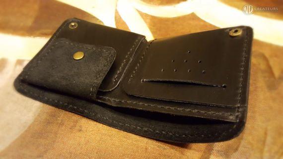 Monedero negro cartera billetera de cuero personalizado