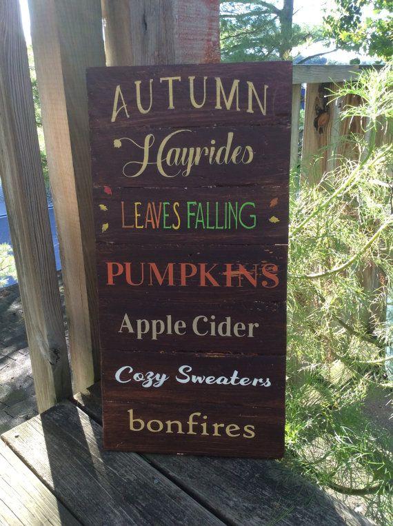 Rustic sign 'Autumn', cottage decor, porch decor, pumpkins, hayrides, Lakehouse decor, bonfires, fall decor, Autumn sign, primitive sign