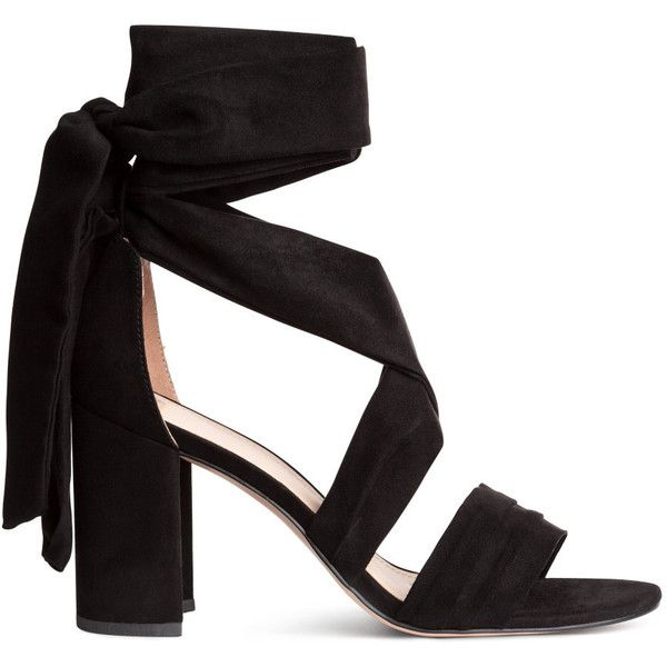 Sandals with Ankle Tie $49.99 (£39) ❤ liked on Polyvore featuring shoes, sandals, heels, h&m, heeled sandals, ankle strap shoes, strap sandals, wide width sandals and strappy sandals