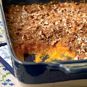 Sweet Potato Casserole:  Mix together: 3 cups cooked sweet potatoes, 3/4 c. brown sugar, 1/4 c. cream, 1/4 c. melted butter, 1/2 tsp. salt, 1/2 tsp. nutmeg, 2 large eggs beaten.  Topping:  1/3 c. flour, 2/3 c. brown sugar, 1/8 tsp. salt, 1/4 c. melted butter, 1 c. chopped pecans. Bake at 350 for 25 minutes.  Broil 45 seconds. Let sit 10 minutes before serving.
