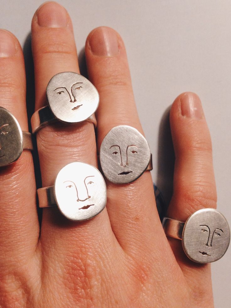 Moon face rings Polly Collins