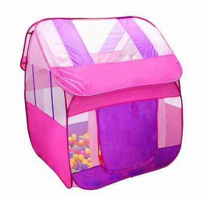 Pink Kids Pop Up Indoor & Outdoor Playground Ball Pit Play Tent Hut Fun Toy