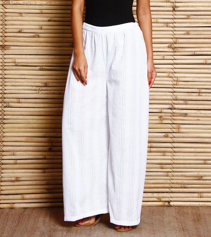 White Embroidered Cotton Palazzos