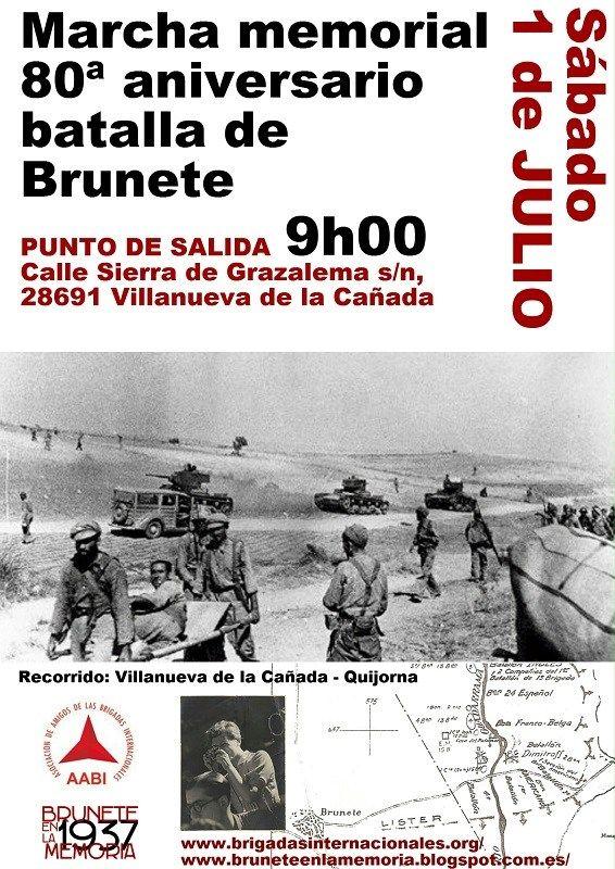 11ª Marcha memorial Batalla de Brunete, Gerda Taro, Frente Popular, Brigadas Internacionales, Golpe militar fascista contra la II República