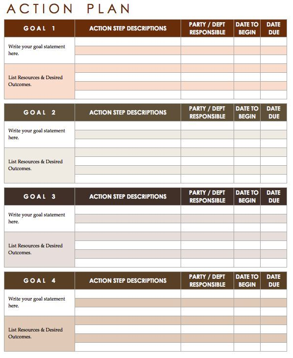 Best 4 Action Plan Template Word Pdf Action Plan Template