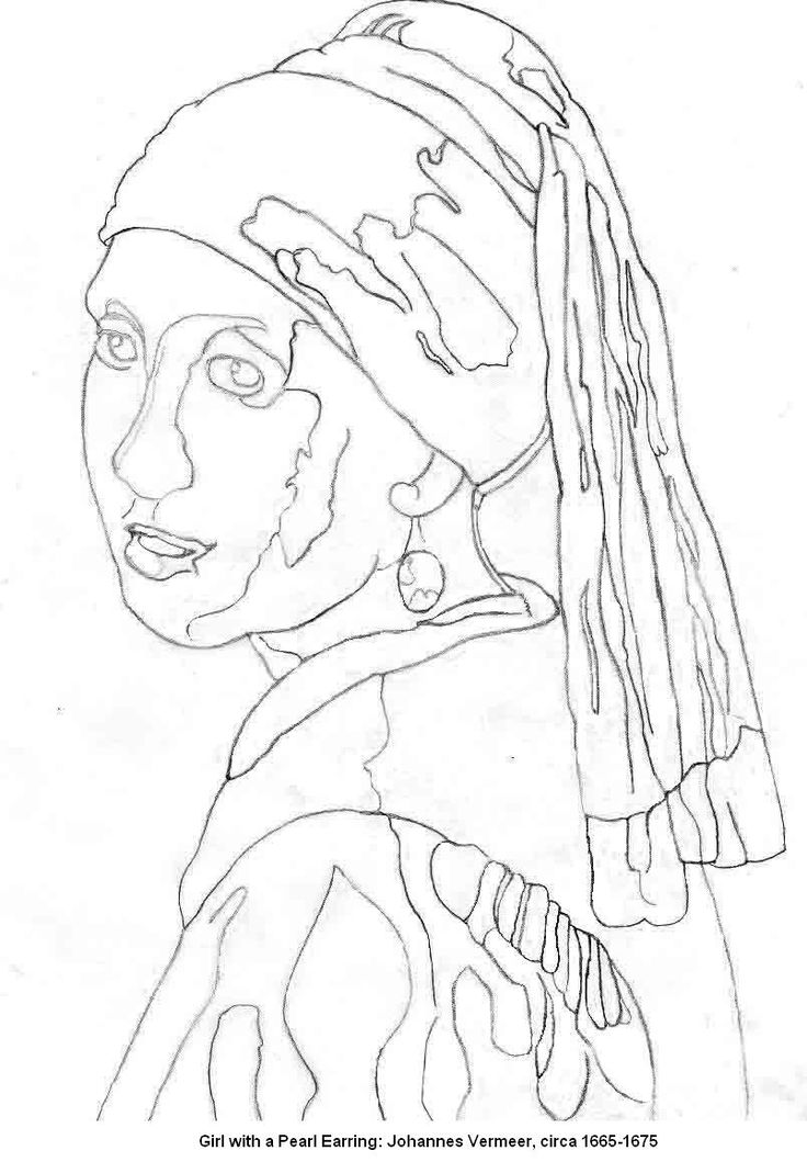 Free Girl with a pearl earring artistic outline template