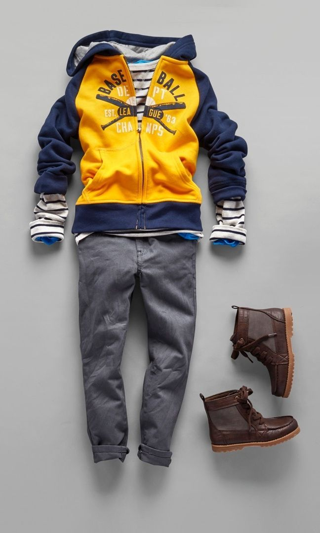 Boys' fashion | Kids' clothes | Active hoodie | Striped shirt | Chinos | Back-to-school | The Children's Place