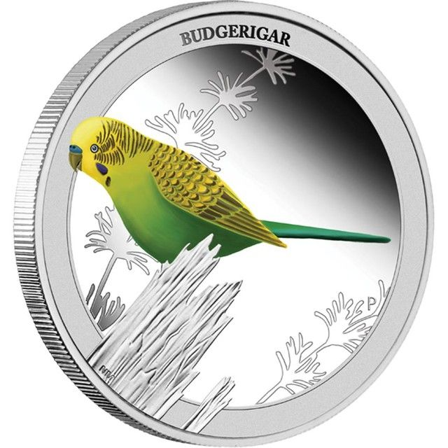 BUDGERIGAR 2013 1/2OZ SILVER PROOF COIN PERTH MINT ,SILVER COIN,