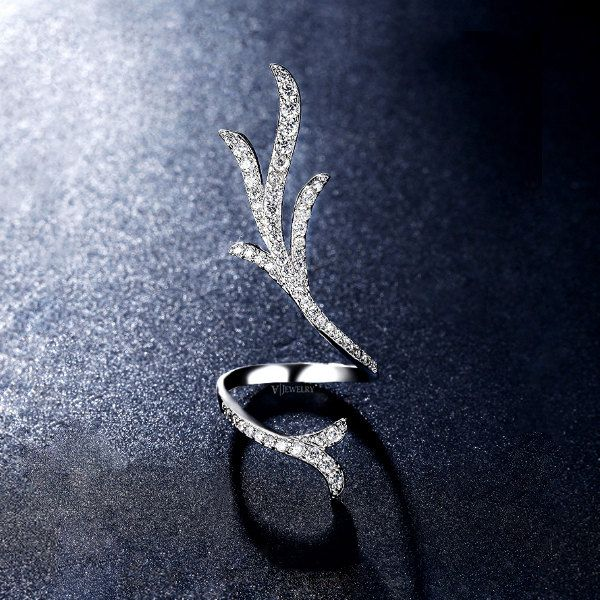 Antler Cubic Zirconia Ring, Full Finger Rings, Thin Pave Ring, Deer Antler Ring, Open Bar Rings, Diamond Wrap Ring, Long Ring, AR0287 by AmodeJewelry on Etsy