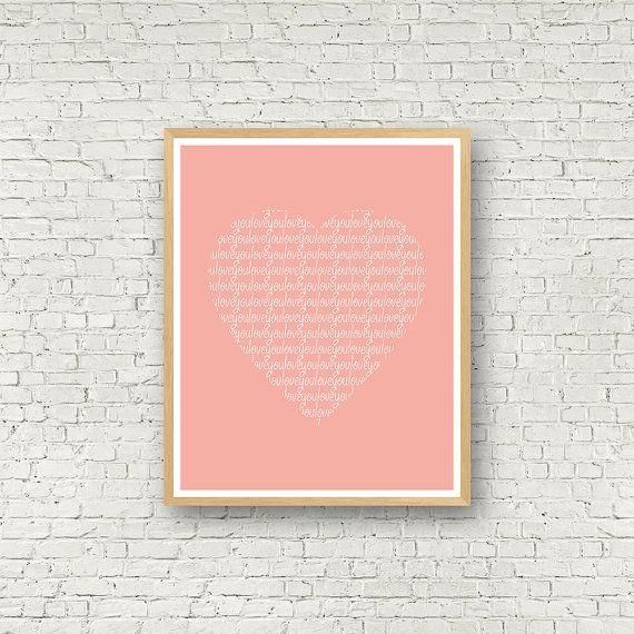 Love you coeur rose Love Wall Art rose et Blanc par MamzelleJules