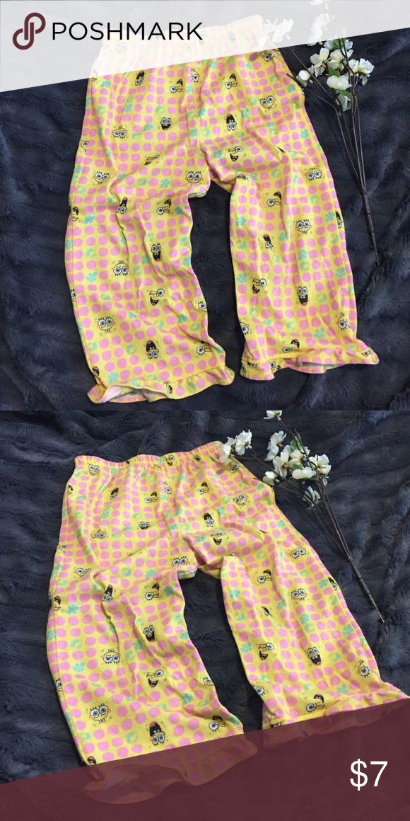 Girls Spongebob Pajama Pants • Ruffled Hemline Girls Spongebob Pajama Pants with ruffles hemline on each leg • Good condition • Piling on material from wear • Still lots of love and use left. Size 4T. Reasonable offers considered. 🚫trades/offline transactions. Bundle to save 10%. Thank you🌷 Pajamas Pajama Bottoms