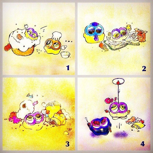 """Guzu-mushi, A Sweets Gang""#mizumushikun #alien #sweets #gang #yummy #art #artwork #manga #comic #mini #funny #fun #bright #design More! : http://run-mizumushi-kun.com/guzu-mushi-sweets-gang"