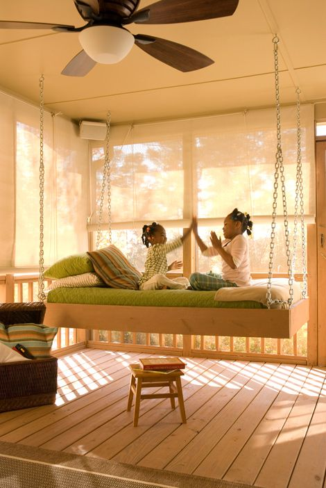 Outdoor Rooms: DIY Hanging Daybed.  Head over to YellaWood.com for more inspiration