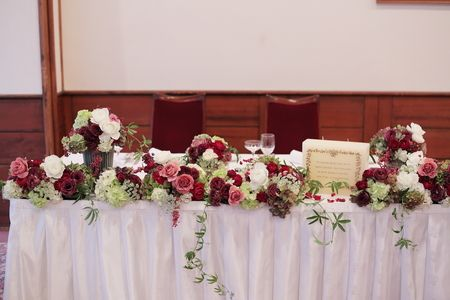 秋の装花 軽井沢万平ホテル様へ 紅葉のころ メインテーブル装花