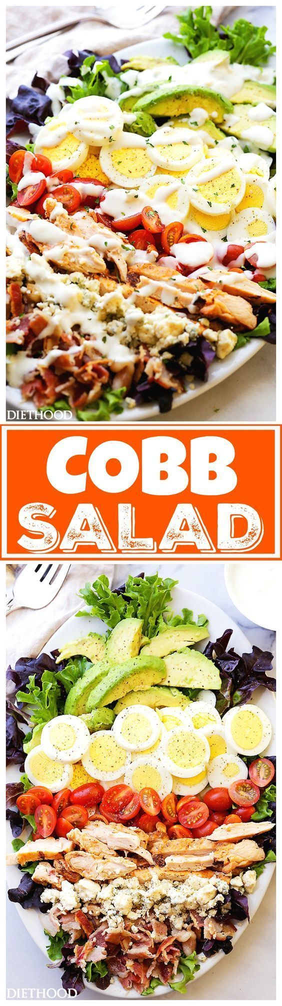 Cobb Salad Recipe - This classic American main-dish salad is packed with chicken, avocado, sweet tomatoes, crunchy bacon, blue cheese, and eggs, all topped with a lightened-up blue cheese dressing.::