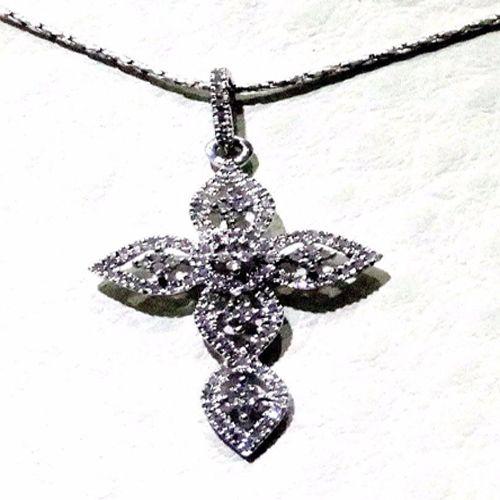 10k White Gold Diamonds Pave Cross Pendant Necklace Pave diamond Fashion