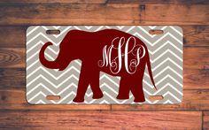 Monogrammed Alabama License Plate AL Custom Chevron Roll Tide Car Tag Monogram Elephant Custom Plate Personalized Customized Fan Gift by TheMonogramStand on Etsy https://www.etsy.com/listing/263534490/monogrammed-alabama-license-plate-al