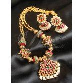 Beautiful Long Designer Temple Necklace Set-dj0401
