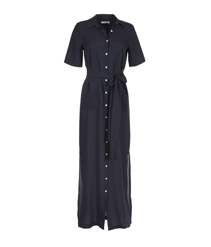Marina London's Dree Dress is elegant -classic, column shirt-dress with short sleeves. Ideal for winter layering as it is made from lightweight crepe, so very breathable. It comes with a long sash which you can tie for a more dressed - up option, the material flows beautifully with you as you move. It has a chic, neat pointed collar and two perfect 'slouch' pockets at the front, and two slits up the sides to knee-height. #clerkenwellldn #marinalondon