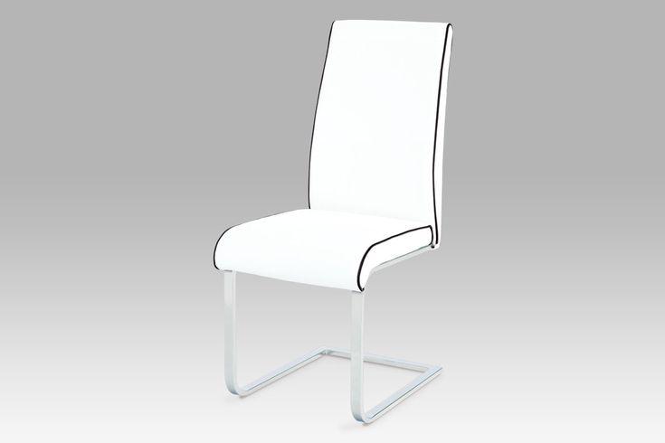 B989 WT1 Jídelní židle v sněhově bílé kožence s černým lemováním. Bohaté polstrování židle na pohupové podnoži zajistí sezení mnohem komfortnější. Chromová podnož má obdélníkový průřez. Nosnost židle je do 100 kg.