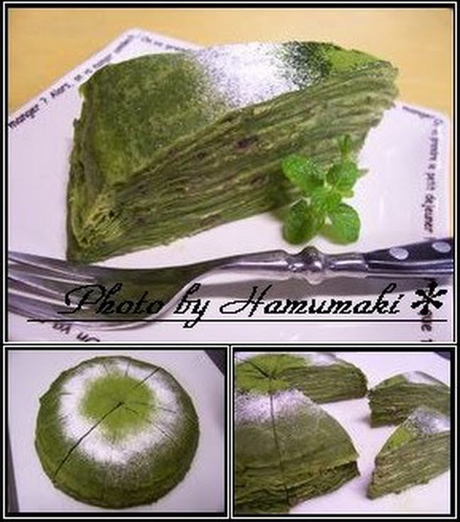 "Wafuu (Traditional Japanese Style) is Best ☆ Matcha Green Tea Mille-feuille ♪! ""This matcha tea flavored crêpe has a springy texture, just like ones from a crêpe shop. ♪ ~ If you're a green tea fan, you'll love this ""mille-feuille"" layered crêpe dish, since the cream filling is matcha tea flavored too! Please give this a try. ☆. Recipe by Hamumaki""  @allthecooks #recipe"