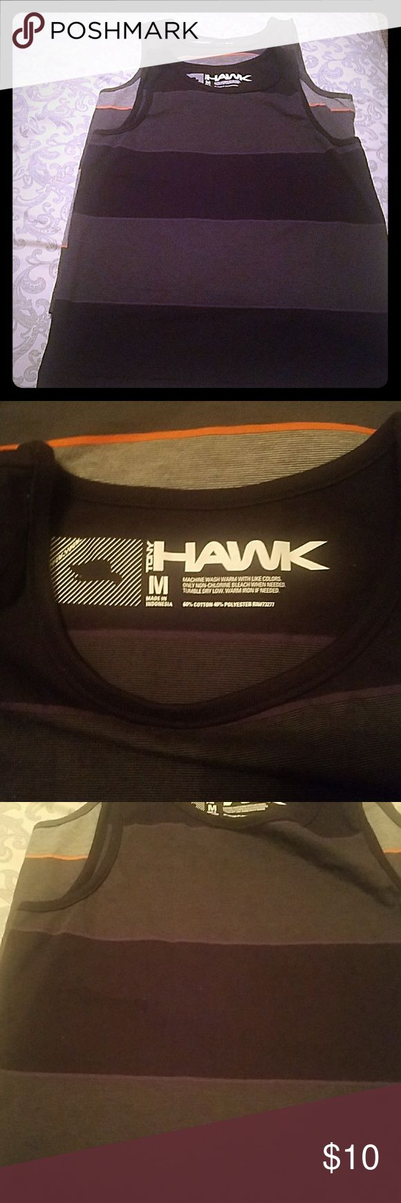 TONY HAWK Tanks NWOT, 2 boys Tony Hawk tanks, size M, 1 black, purple, and gray, 1 dark gray striped; 1 light gray, and orange striped, new condition, accepting all reasonable offers, bundle for discounts Tony Hawk Shirts & Tops Tank Tops