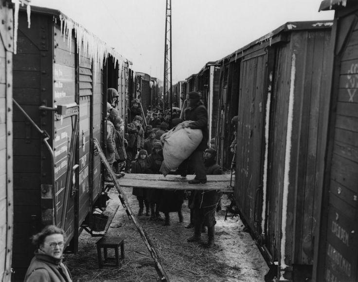 1946. Podróż repatriantów do Polski. Przeładunek dobytku z sowieckich wagonów szerokotorowych do polskich, fot. John Vachon, archiwum prywatne Ann Vachon - photo 8