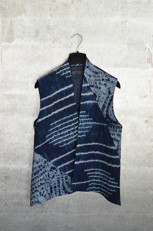 Cotton shibori patchwork vest