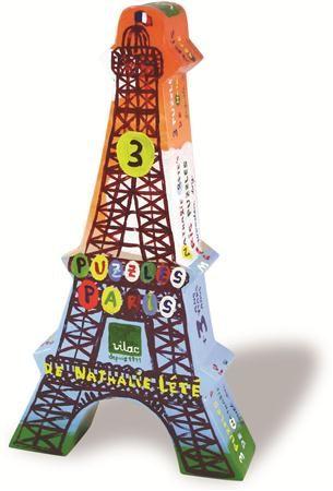 Puzzles 3 x 25 pcs Paris Nathalie Lété boîte tour Eiffel